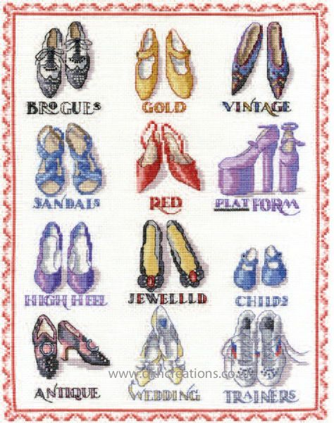 Shoes Sampler Cross Stitch Kit
